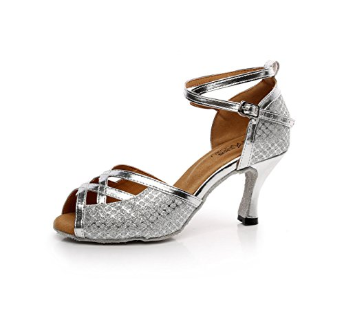 JSHOE Chaussures de Danse pour Femmes Latin Salsa/Tango/Thé/Samba/Moderne/Jazz Chaussures Sandales Talons Hauts,Silver-heeled7.5cm-UK2.5/EU32/Our33