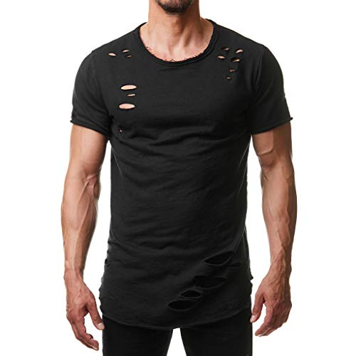 Men's Hole O-Collar T Shirts Fashion Personality Pure Color Sport Short Sve Tees Muscle Slim fit Tops Black