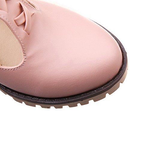 Allhqfashion Dames Pu Stevige Gesp Ronde Neus Kitten-hakken Pumps-schoenen Roze