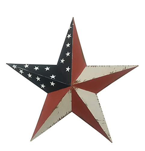 YUMBOR Metal Patriotic Old Glory Americana Flag Barn Star Wall Decor July of 4th Independence Day Memorial Day Hanging Decoration