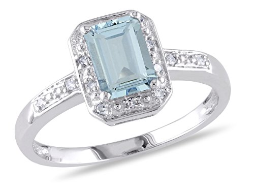 1.0 Carat (ctw) Emerald-Cut Aquamarine Ring with Accent Diamonds in Sterling Silver