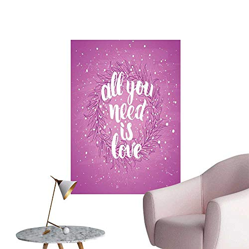 Love Wall Mural Wallpaper Stickers Valentines Day Concept Abstract Floral Wreath Brush Font Paint Splashes Grunge Look Restaurant Wall Fuchsia White W20 x H28