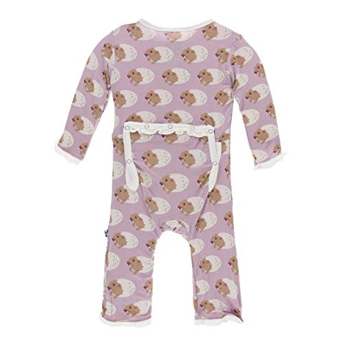 KicKee Pants Print Muffin Ruffle Coverall with Zipper (3-6 Months, Sweet Pea Diictodon)