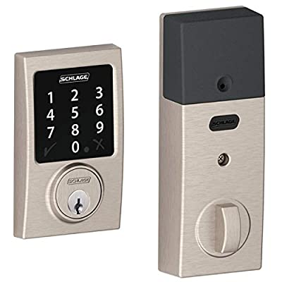 (New Model) Schlage Connect Century Touchscreen Deadbolt with Z-wave Technology and Extra Key BE468-2K (Satin Nickel)