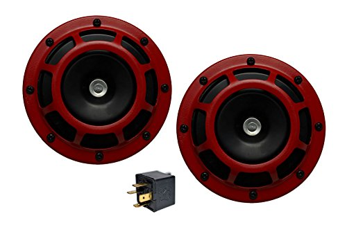 Velocity DUAL Super Tone LOUD Blast 139Db Universal Euro RED ROUND HORNS (Quantity 2) High / Low Tone Twin Horn Kit Pair Compact Extremely LOUD for Volkswagen VW Jetta VW - Horn Volkswagen