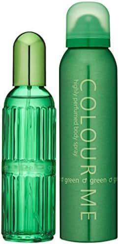 Colour Me   Green   Eau de Toilette and Body Spray   Fragrance 2 Piece Gift Set for Men   Oriental Fougere Scent   EDT Spray - 3 oz /  Body Spray - 5 oz