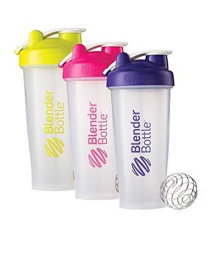 28 Oz. Hook Style Blender Bottle W/ Shaker Bundle-Clear Green/Pink/Purple