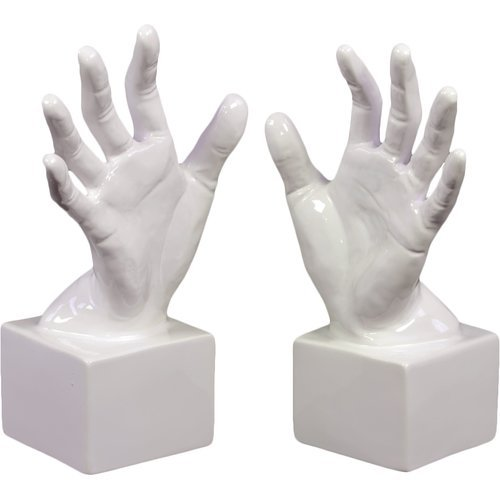 OKSLO Urban Trends Ceramic Open Palm Bookend Gloss White (Set of 2)
