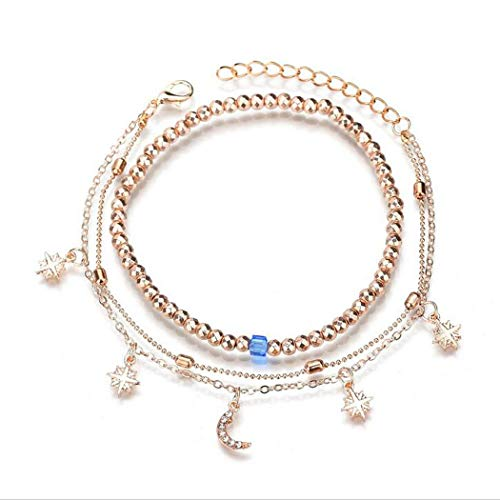 Eternal-Z Moon Star Sun Anklet Bracelet Fashion Crescent Beads Beach Foot Chain Multilayer Barefoot Sandal Adjustable Gold Plated Jewelry for Women and Girls
