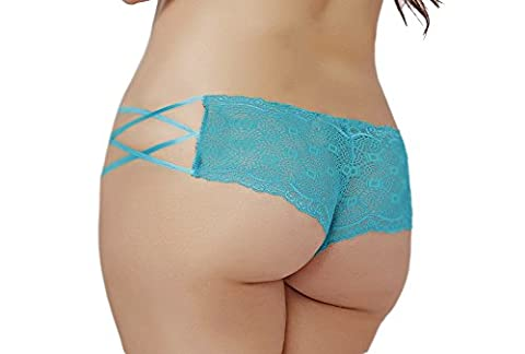 Lacy Line Plus Size Sexy Lace Hipster Panties With Lace Up Sides (3x/4x,Turquoise) - Lace Up Plus Size Panties