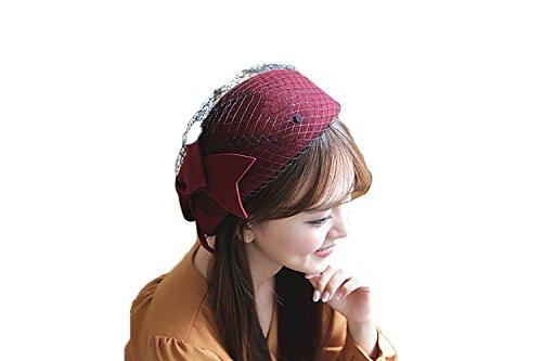 NE Norboe Fascinator Wedding Pillbox Hats Wool Church Hat Bow Veil for Women (wine) Girl Hat Box