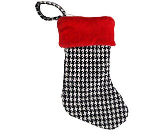 Christmas Stocking Red Velveteen Top with Houndstooth Patter