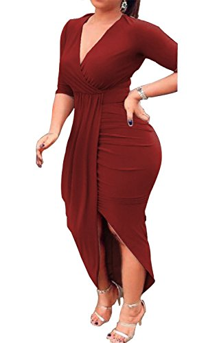 Asymmetrical Dress Midi V Red Dresses CLOTHES Club Date Bodycon Women AM Sexy Hem Neck Ruched gURxE