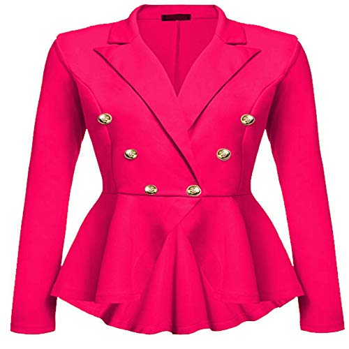 Womens Slim Fit Office Elegant Female Solid Button Plus Size Jackets Blazer ()