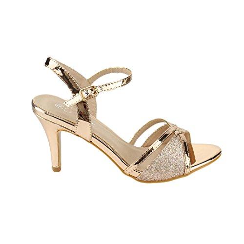 Voor Altijd Fq28 Dames Glitter Metallic Enkelbandje Gesp Gewikkeld Hak Sandalen Rose Goud