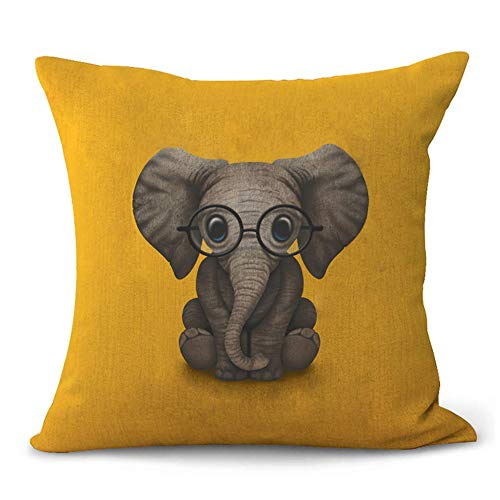 Aremetop Lovely Animals Elephant Baby Wearing Glasses Cotton Linen Home Decor Pillowcase Throw Pillow Cushion Cover with Yellow Background 18 x 18 Inches,Baby's Room,Crib,Birthday Gift