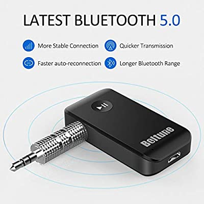 Bluetooth V5.0 aux Adapter, Boltune Audio Receiver Car Kit, for Home Hi-fi System, Portable Wireless Audio Adapter 3.5mm Aux for Music, Speaker, Headphones, Hands-Free Car Kit with Microphone: Electronics