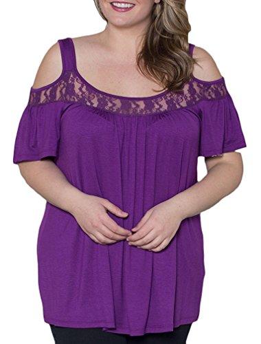 Basic Vintage T Tops Fashion Dentelle Blouse Courtes Violet Chemises Transparentes Chic Simple Shirt Femme Manches Hauts 4pwTPqW70