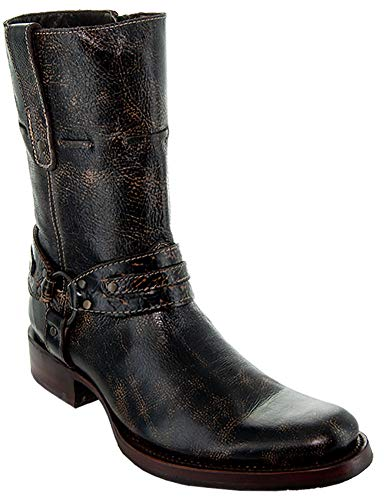 Soto Boots Men's Vintage Washed Round Toe Harness Boots H50023 (Brown,9.5)