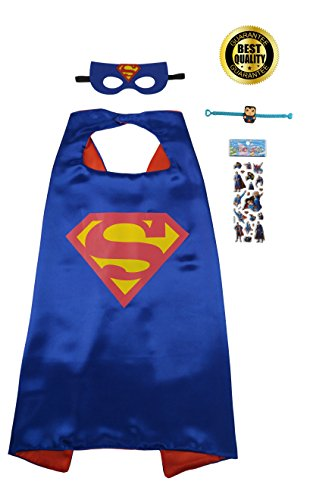 Superman Products : Special 4-Piece Superman Set Includes Cape, Mask, Superhero Stickers and Bracelet