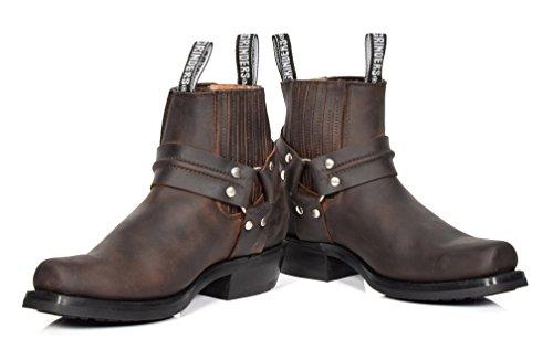 Männer Braun Leder Ankle Biker Stiefel Schlüpfen Sie Ein Quadratische Zehe Cowboy Schleifmaschinen Stiefel - AR70