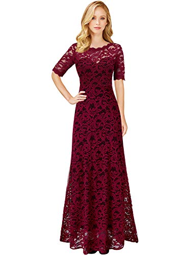 VFSHOW Womens Retro Dark Red Floral Lace Half Sleeve Formal Evening Wedding Party Maxi Dress 1981 RED -