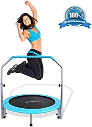 """SereneLife Portable & Foldable Trampoline - 40"""" in-Home Mini Rebounder with Adjustable Handrail, Fitn"""