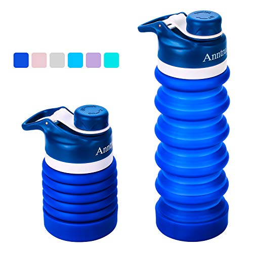 Anntrue Collapsible Water Bottle BPA Free, FDA Approved Food-Grade Silicone Portable Leak Proof Travel Water Bottle, 18oz(Navy Blue)