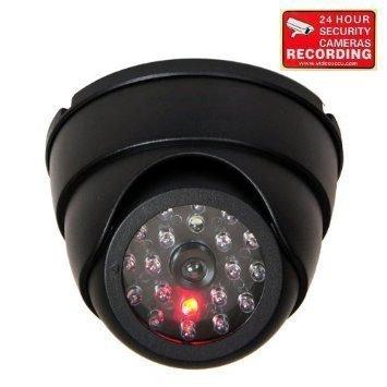 illance Security Dummy Imitation Camera Fake Security Camera Simulated Infrared IR LED Fake Camera with Blinking Light CCTV Surveillance, Security Warning Sticker AA3 ()