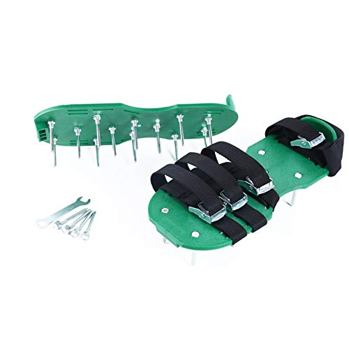 HnjPama 2018 Upgraded Lawn Aerator Shoes, 26 Spikes Aerating Lawn Soil Sandals with 4 Adjustable Buckles Straps & 1 Heal Elastic Band- Green by HnjPama (Image #5)