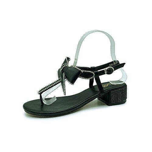 Donne 6618 NERO Pelle Womens JUWOJIA Butterfly Sandali Black Appartamenti Casual Piattaforma Estivi Knot Sandals Sandali Pu Sandali 7UqqrZaYn