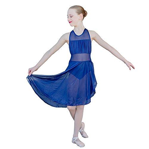 HDW DANCE Girls Lyrical Leotard Dance Dress Halter Mesh Nylon and Spandex Skirts(S-CI, Navy Blue)