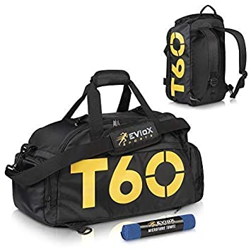 57ec372947 EVIoX Sports Holdall Duffle Backpack Gym Bag + FREE Microfibre Sports Towel