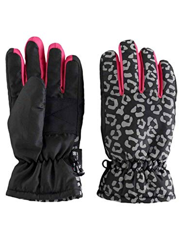 Girls Black & Pink Leopard Print Thinsulate