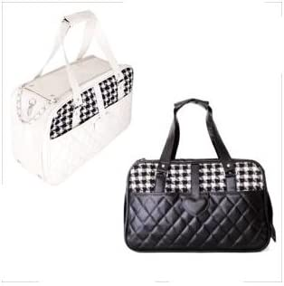 I Love Sawtooth Vintage Black & White Plaid Quilted Travel Pet Carrier Tote (Carry On) - Black / I Love Sawtooth Vintage Black & White Plaid Quilted Travel Pet Carrier Tote (Carry On) - Black