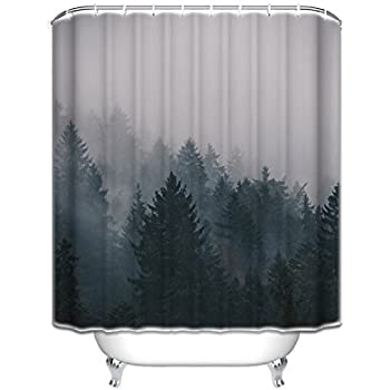 Prime Leader Custom Shower Curtains Fog Pine Trees Forest Waterproof Polyester Fabric Curtain 72