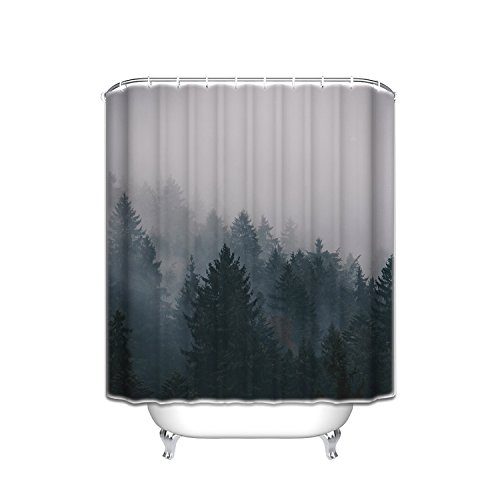 Prime Leader Custom Shower Curtains Fog Pine Trees Forest Waterproof Polyester Fabric Shower Curtain 60