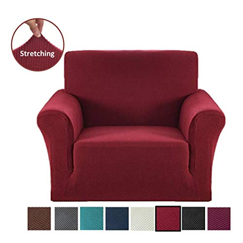 Argstar Jacquard Armchair Slipcover Soft Elastic Wine Red (For Slipcovers Armchairs)
