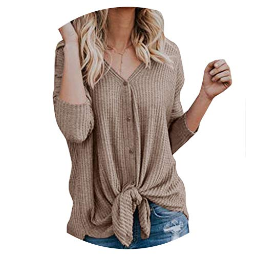 2018 Autumn Winter Cardigan Coat Casual V-Neck Woman Cardigans Tops Long Sleeve Sweater,Brown,XL