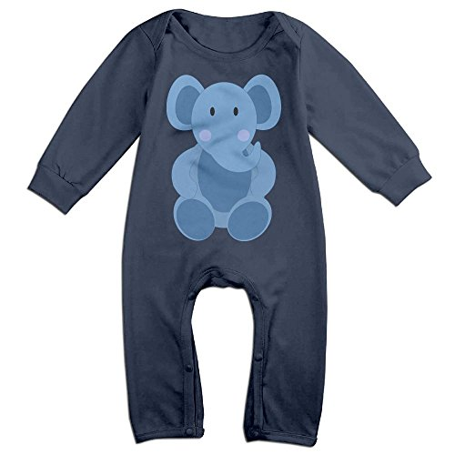 [Baby Infant Romper Baby Elephant Long Sleeve Jumpsuit Costume Navy 6 M] (Elephant Ears Costume Pattern)