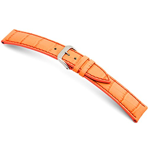 (22mm (XL) RIOS1931 Orange Louisiana - Genuine Embossed Leather Watch Band with Gator Print and Matching Stitching 124x92)