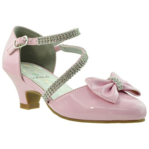 (Kids Dress Shoes Rhinestone Bow Accent Kitten Heel Sandals Pink SZ 13)