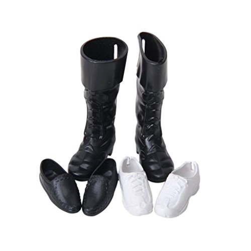 YaptheS Barbie Shoes Barbie Pointed Shoes Sneakers high Boots Accessories for Male Ken Barby Toy Children Birthday ()