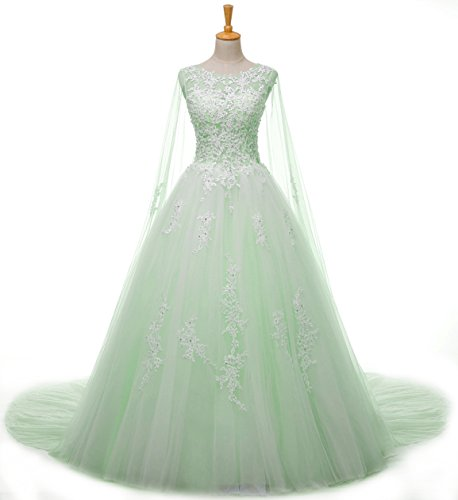 Women's Long A Line Tulle Wedding Dress Lace Applique Evening Gowns Green US8 by Elinadrs