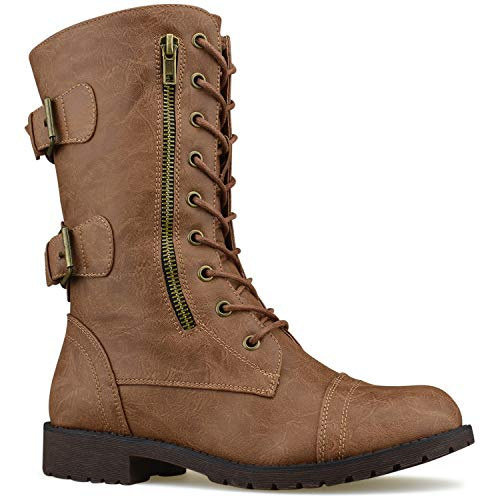 Premier Standard Women's Military Ankle Lace up Buckle Combat Boots Mid Knee High Exclusive Booties Tan M1*