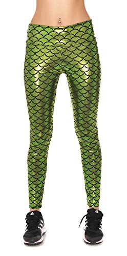 Ladies Mermaid High Waist Slim Tight Leggings for Women Plus Size Light Green XL