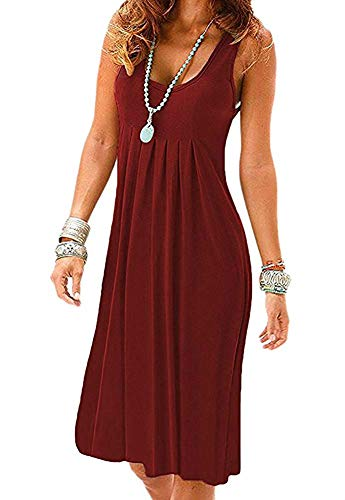 MIDOSOO Womens Casual Sleeveless Scoop Neck Midi A Line Tank Dress Wine Red M ()