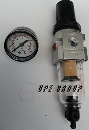 1//4 NPT in//out Air Pressure Regulator 150 PSI Max with Water Trap and Filter
