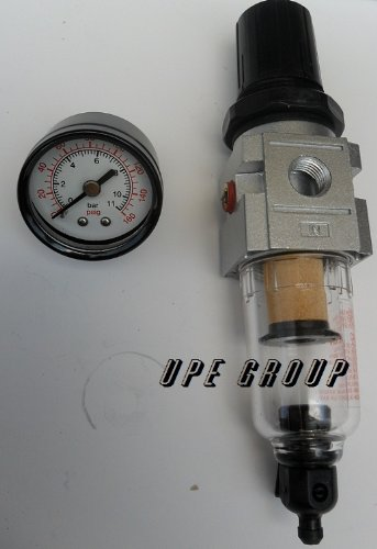 1/4'' Mini Filter Regulator Combo compressed air line paticulate CLEAN COMPRESSED AIR SYSTEM MOISTURE SEPARATOR REGULATE PRESSURE by THB