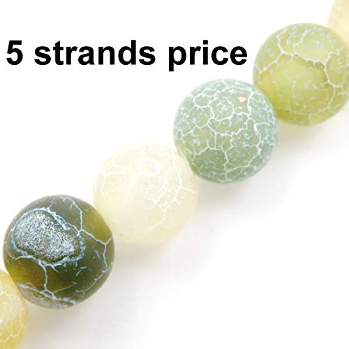 Malahill Agate Beads for Jewelry Making, Sold per Bag 5 Strands Inside, Apple Green airslaked Agate 6mm -